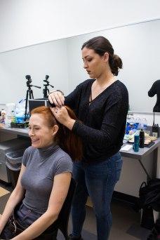 Creating a futuristic braid on actress Rebecca Bujko