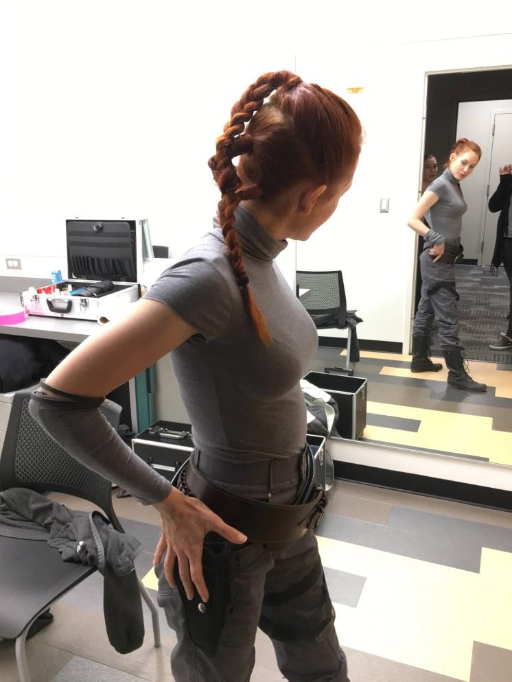 Finished braid on actress Rebecca Bujko