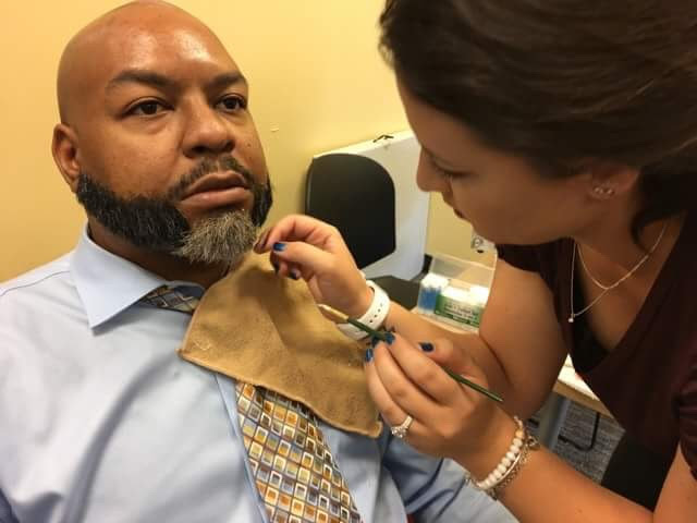 Applying a 3 piece prosthetic beard to lead actor Essex O'Brien